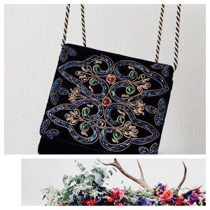 Vintage Small Purse Bag Embroidered Black Velvet